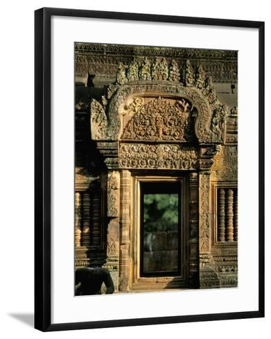Finely Carved Doorway Within Temple of Banteay Srei, Founded in 967 AD, Angkor, Siem Reap-Richard Ashworth-Framed Art Print