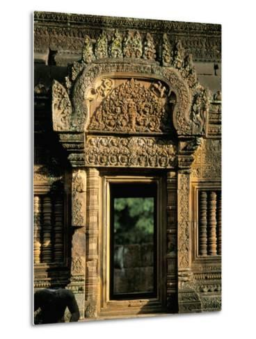 Finely Carved Doorway Within Temple of Banteay Srei, Founded in 967 AD, Angkor, Siem Reap-Richard Ashworth-Metal Print