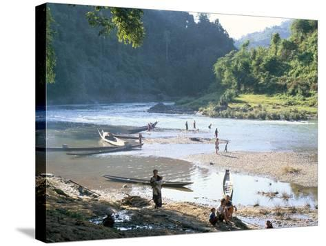 Villagers on Banks of Nam Tha River, a Tributary of the Mekong, South of Luang Nam Tha, Indochina-Richard Ashworth-Stretched Canvas Print