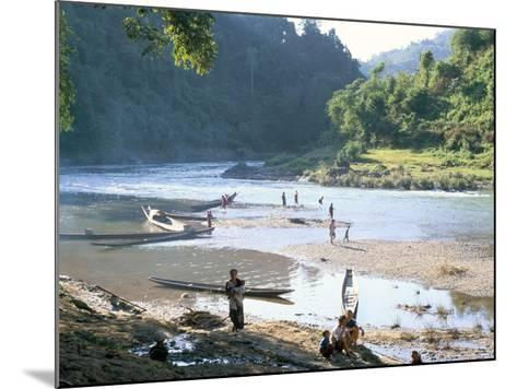 Villagers on Banks of Nam Tha River, a Tributary of the Mekong, South of Luang Nam Tha, Indochina-Richard Ashworth-Mounted Photographic Print