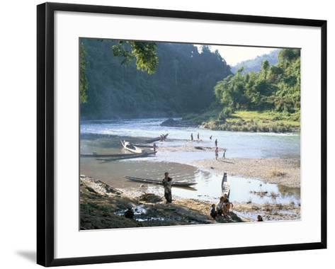 Villagers on Banks of Nam Tha River, a Tributary of the Mekong, South of Luang Nam Tha, Indochina-Richard Ashworth-Framed Art Print