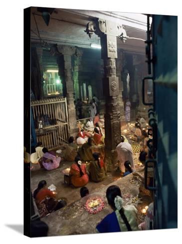 Worshippers at a Shrine Inside the Sri Meenakshi Temple, Madurai, Tamil Nadu State, India-Richard Ashworth-Stretched Canvas Print
