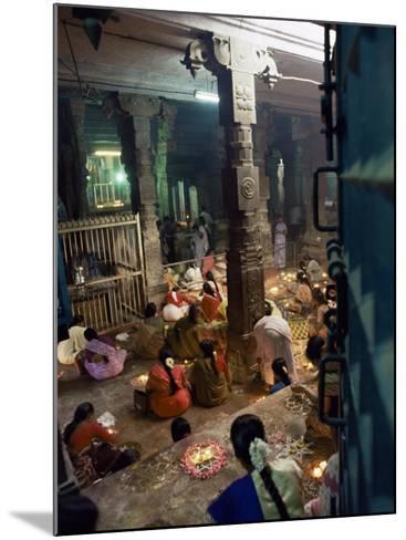 Worshippers at a Shrine Inside the Sri Meenakshi Temple, Madurai, Tamil Nadu State, India-Richard Ashworth-Mounted Photographic Print