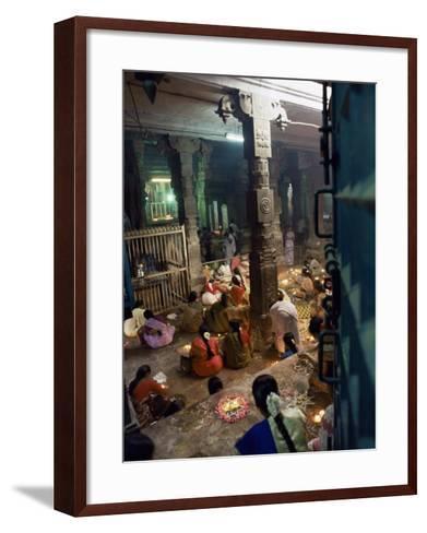Worshippers at a Shrine Inside the Sri Meenakshi Temple, Madurai, Tamil Nadu State, India-Richard Ashworth-Framed Art Print