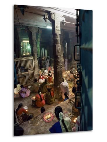 Worshippers at a Shrine Inside the Sri Meenakshi Temple, Madurai, Tamil Nadu State, India-Richard Ashworth-Metal Print