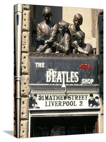 Statues of the Beatles, the Cavern Quarter, Liverpool, England, United Kingdom-Charles Bowman-Stretched Canvas Print