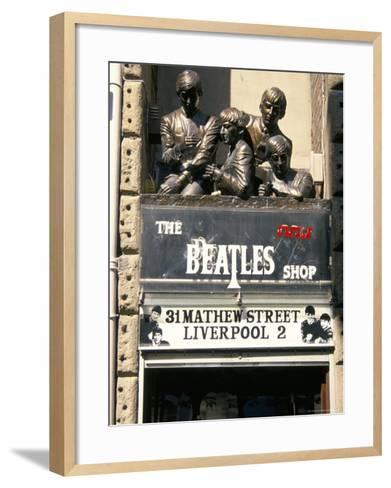 Statues of the Beatles, the Cavern Quarter, Liverpool, England, United Kingdom-Charles Bowman-Framed Art Print