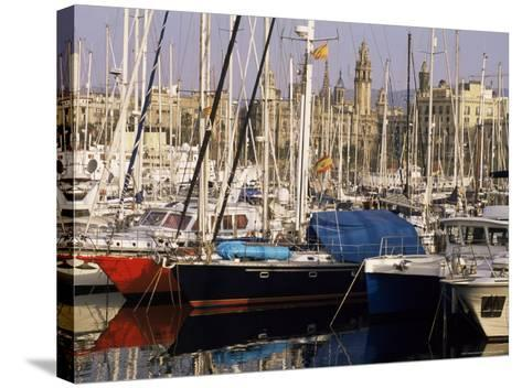 Port Vell (Old Port) and Old City Behind, Barcelona, Catalonia, Spain-Charles Bowman-Stretched Canvas Print