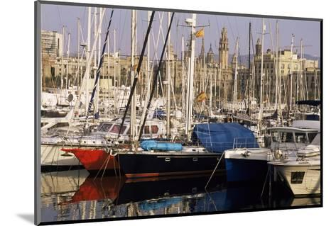 Port Vell (Old Port) and Old City Behind, Barcelona, Catalonia, Spain-Charles Bowman-Mounted Photographic Print