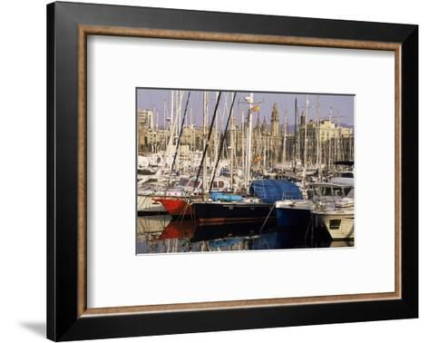 Port Vell (Old Port) and Old City Behind, Barcelona, Catalonia, Spain-Charles Bowman-Framed Art Print