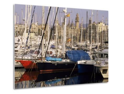 Port Vell (Old Port) and Old City Behind, Barcelona, Catalonia, Spain-Charles Bowman-Metal Print