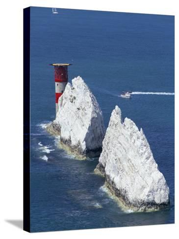 Aerial View of the Needles Rocks and Lighthouse, Isle of Wight, England, United Kingdom-Charles Bowman-Stretched Canvas Print