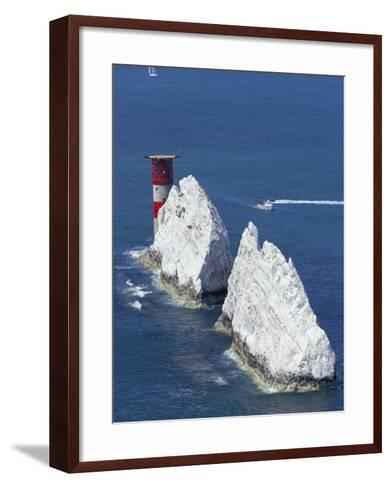Aerial View of the Needles Rocks and Lighthouse, Isle of Wight, England, United Kingdom-Charles Bowman-Framed Art Print