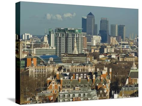 Skylines with Canary Wharf and Offices, London, England, United Kingdom-Charles Bowman-Stretched Canvas Print