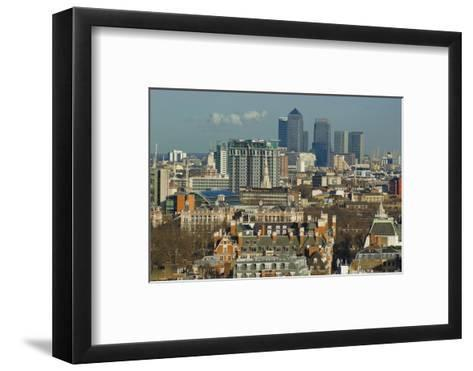 Skylines with Canary Wharf and Offices, London, England, United Kingdom-Charles Bowman-Framed Art Print