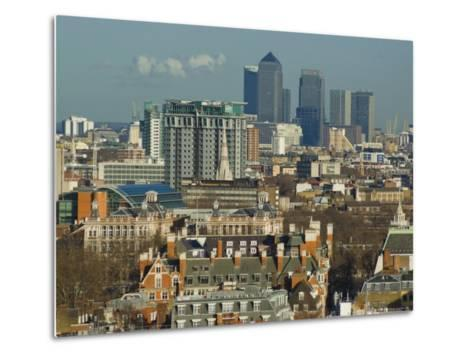 Skylines with Canary Wharf and Offices, London, England, United Kingdom-Charles Bowman-Metal Print