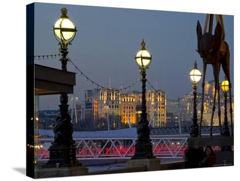 Embankment with Dali Sculpture at Dusk, London, England, United Kingdom-Charles Bowman-Stretched Canvas Print