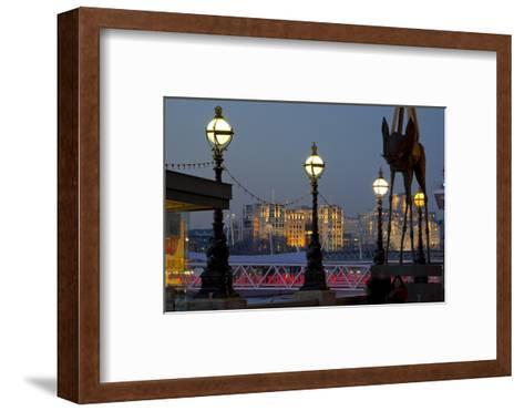 Embankment with Dali Sculpture at Dusk, London, England, United Kingdom-Charles Bowman-Framed Art Print