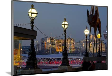 Embankment with Dali Sculpture at Dusk, London, England, United Kingdom-Charles Bowman-Mounted Photographic Print