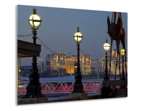 Embankment with Dali Sculpture at Dusk, London, England, United Kingdom-Charles Bowman-Metal Print