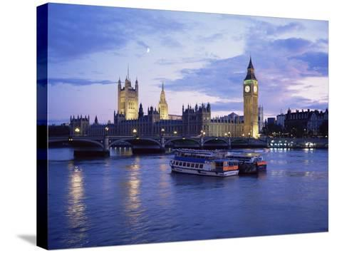 Houses of Parliament at Night, London, England, United Kingdom-Charles Bowman-Stretched Canvas Print