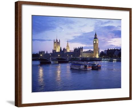 Houses of Parliament at Night, London, England, United Kingdom-Charles Bowman-Framed Art Print