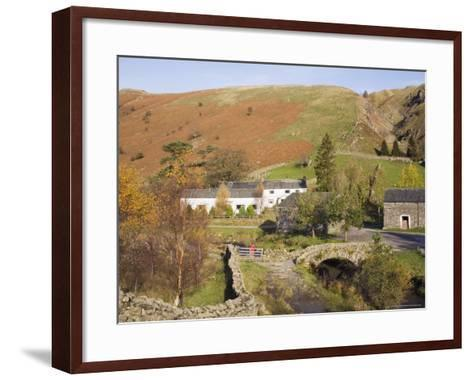 Old Stone Packhorse Bridge Over Watendlath Beck with Dry Stone Wall and Farm Buildings-Pearl Bucknall-Framed Art Print