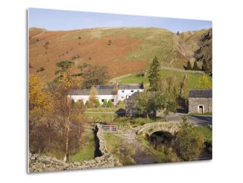 Old Stone Packhorse Bridge Over Watendlath Beck with Dry Stone Wall and Farm Buildings-Pearl Bucknall-Metal Print