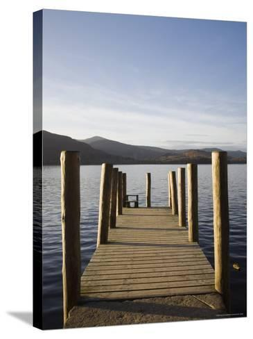 Wooden Jetty at Barrow Bay Landing on Derwent Water Looking North West in Autumn-Pearl Bucknall-Stretched Canvas Print