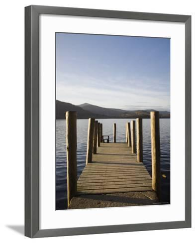 Wooden Jetty at Barrow Bay Landing on Derwent Water Looking North West in Autumn-Pearl Bucknall-Framed Art Print