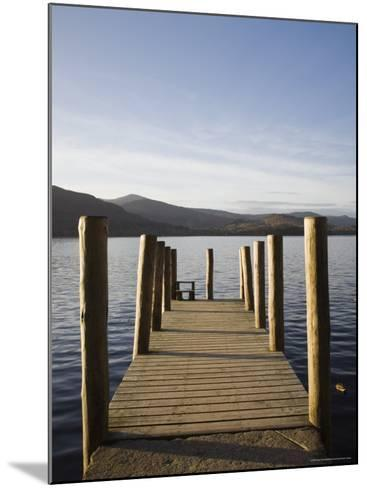 Wooden Jetty at Barrow Bay Landing on Derwent Water Looking North West in Autumn-Pearl Bucknall-Mounted Photographic Print
