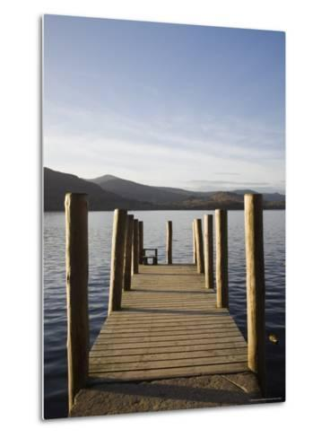 Wooden Jetty at Barrow Bay Landing on Derwent Water Looking North West in Autumn-Pearl Bucknall-Metal Print