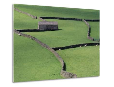 Stone Barn and Dry Stone Walls, Gunnerside, Swaledale, Yorkshire, England, United Kingdom-Jean Brooks-Metal Print