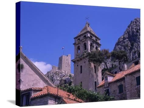 Bell Tower and Fortress, Omis, Makarska Riviera, Croatia-Jean Brooks-Stretched Canvas Print