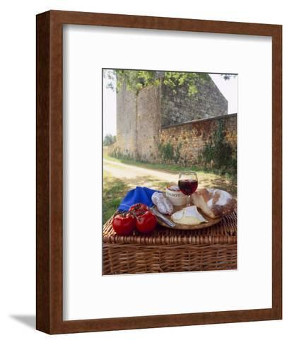 Picnic Lunch of Bread, Cheese, Tomatoes and Red Wine on a Hamper in the Dordogne, France-Michael Busselle-Framed Art Print