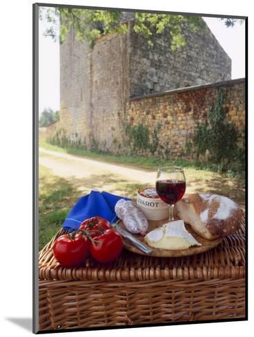 Picnic Lunch of Bread, Cheese, Tomatoes and Red Wine on a Hamper in the Dordogne, France-Michael Busselle-Mounted Photographic Print