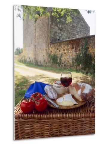 Picnic Lunch of Bread, Cheese, Tomatoes and Red Wine on a Hamper in the Dordogne, France-Michael Busselle-Metal Print