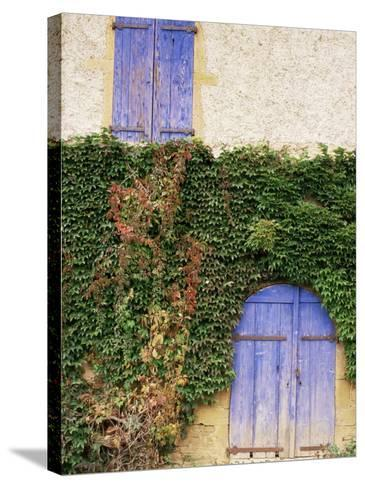 Blue Shutters on a House, Rhone Alpes, France-Michael Busselle-Stretched Canvas Print