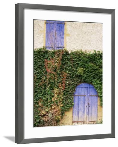 Blue Shutters on a House, Rhone Alpes, France-Michael Busselle-Framed Art Print