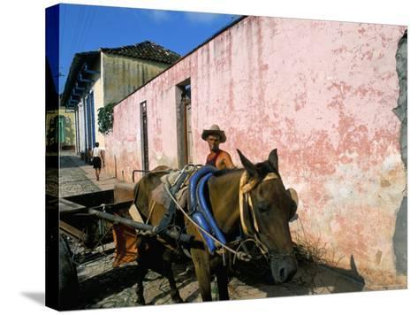 Horse-Drawn Cart in Street of the Colonial City, Trinidad, Sancti Spiritus Region, Cuba-Bruno Barbier-Stretched Canvas Print