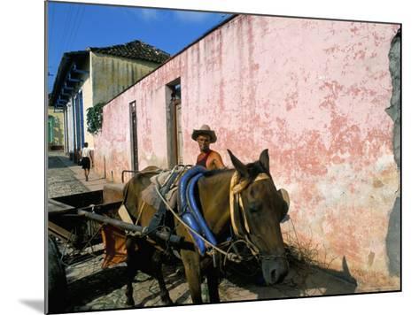 Horse-Drawn Cart in Street of the Colonial City, Trinidad, Sancti Spiritus Region, Cuba-Bruno Barbier-Mounted Photographic Print