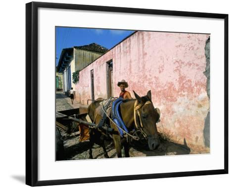 Horse-Drawn Cart in Street of the Colonial City, Trinidad, Sancti Spiritus Region, Cuba-Bruno Barbier-Framed Art Print