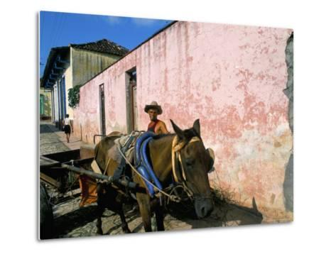Horse-Drawn Cart in Street of the Colonial City, Trinidad, Sancti Spiritus Region, Cuba-Bruno Barbier-Metal Print