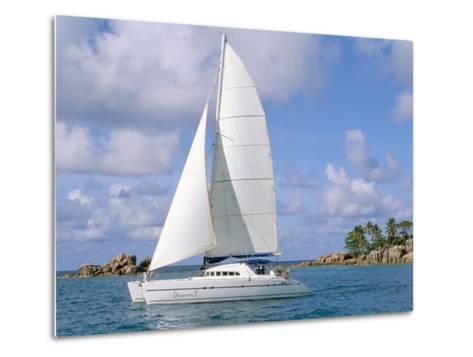 Catamaran, Island of Praslin, Seychelles, Indian Ocean, Africa-Bruno Barbier-Metal Print
