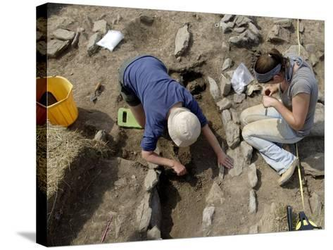 Archaeological Excavation of a Grave by Cambria Archaeology at West Angle Bay, Pembrokeshire, Wales-Rob Cousins-Stretched Canvas Print