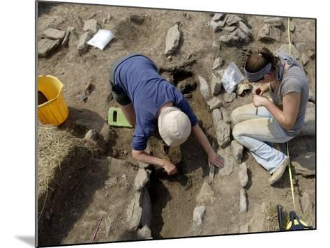 Archaeological Excavation of a Grave by Cambria Archaeology at West Angle Bay, Pembrokeshire, Wales-Rob Cousins-Mounted Photographic Print