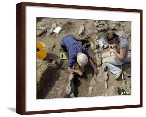 Archaeological Excavation of a Grave by Cambria Archaeology at West Angle Bay, Pembrokeshire, Wales-Rob Cousins-Framed Art Print