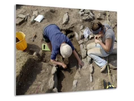 Archaeological Excavation of a Grave by Cambria Archaeology at West Angle Bay, Pembrokeshire, Wales-Rob Cousins-Metal Print