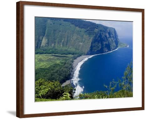 View of Waipio Valley, Island of Hawaii (Big Island), Hawaii, USA-Ethel Davies-Framed Art Print