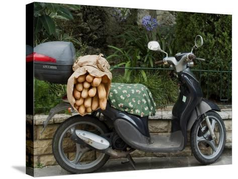 Baguettes on Back on Scooter, Monaco-Ethel Davies-Stretched Canvas Print